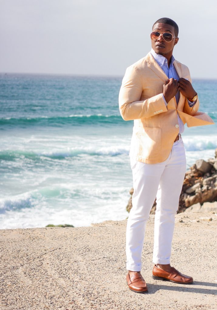 The Dapper Advisor - White levis denim uniqlo linen blazer beach