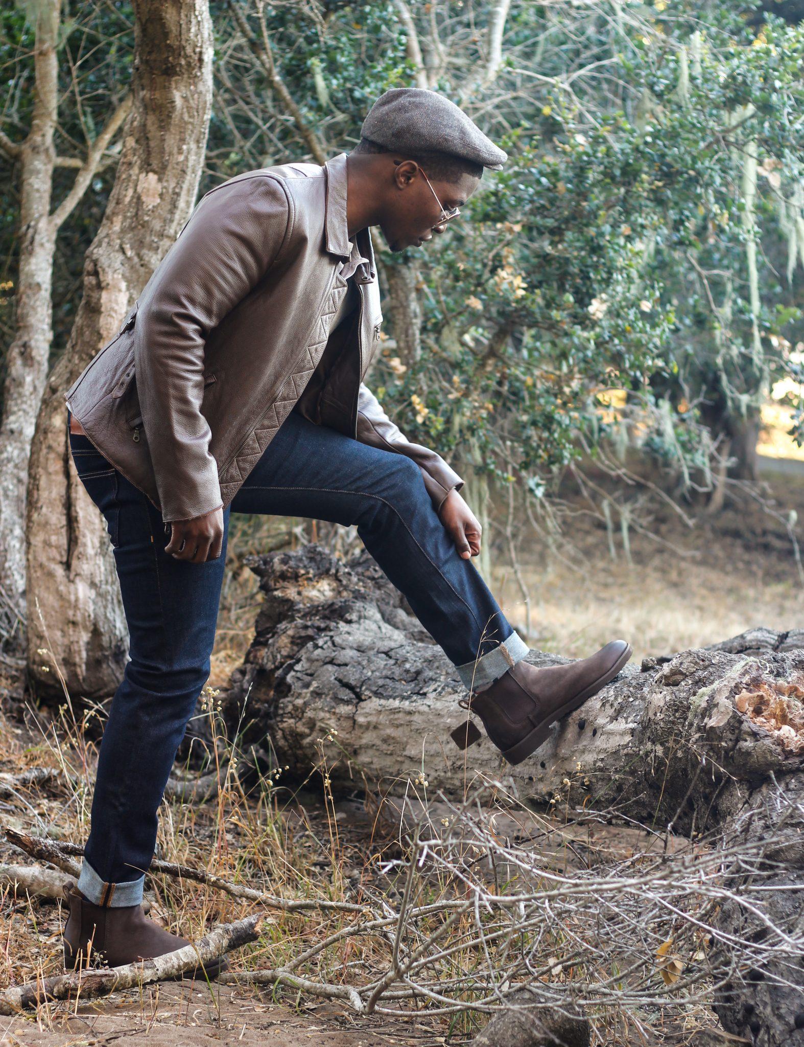 Akil McLeod Dapper Advisor Sebago Chelsea Boots Leather Jacket Denim 3