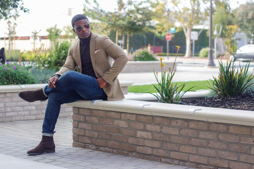 The Dapper Advisor - Brown turtleneck suit supply blazer jack erwin chelsea boots