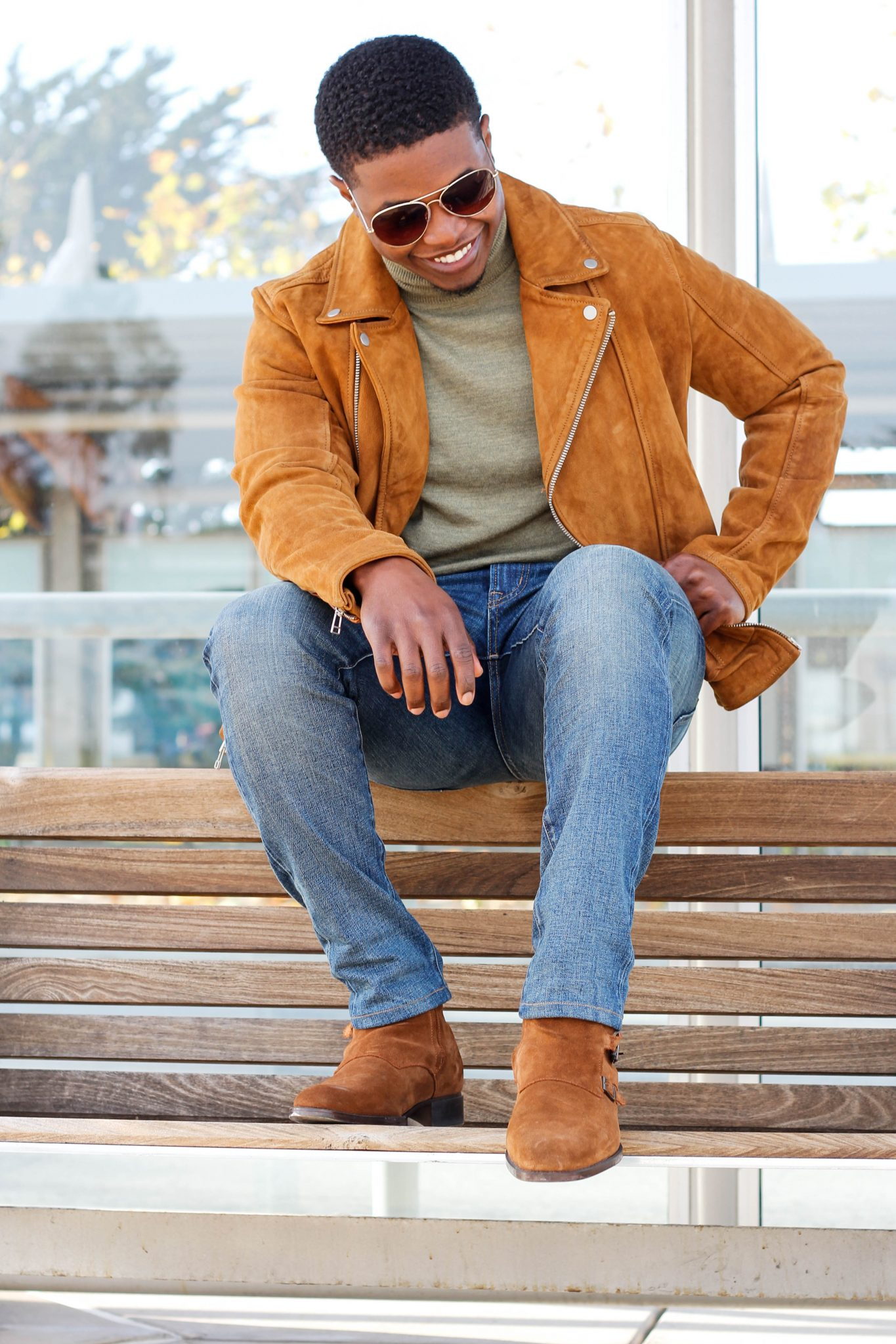 Dapper-Advisor-Akil-McLeod-black-man-african-american-turtleneck-wilsons-leather-turtleneck-smile-suede-jacket-zara-monk-triple-boot-biker-selvedge-denim-uniqlo