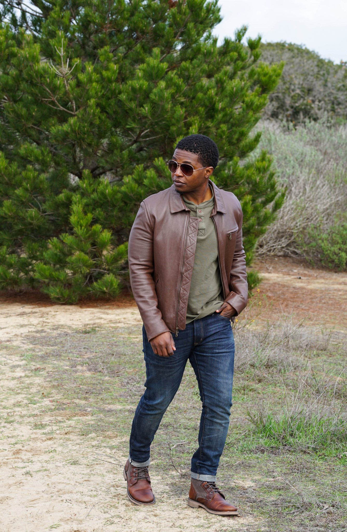 Dapper-Advisor-Cat-Footwear-Abe-Canvas-Boot-brown-leather-jacket-puppy-dog-shades-henley-black-man-african-american