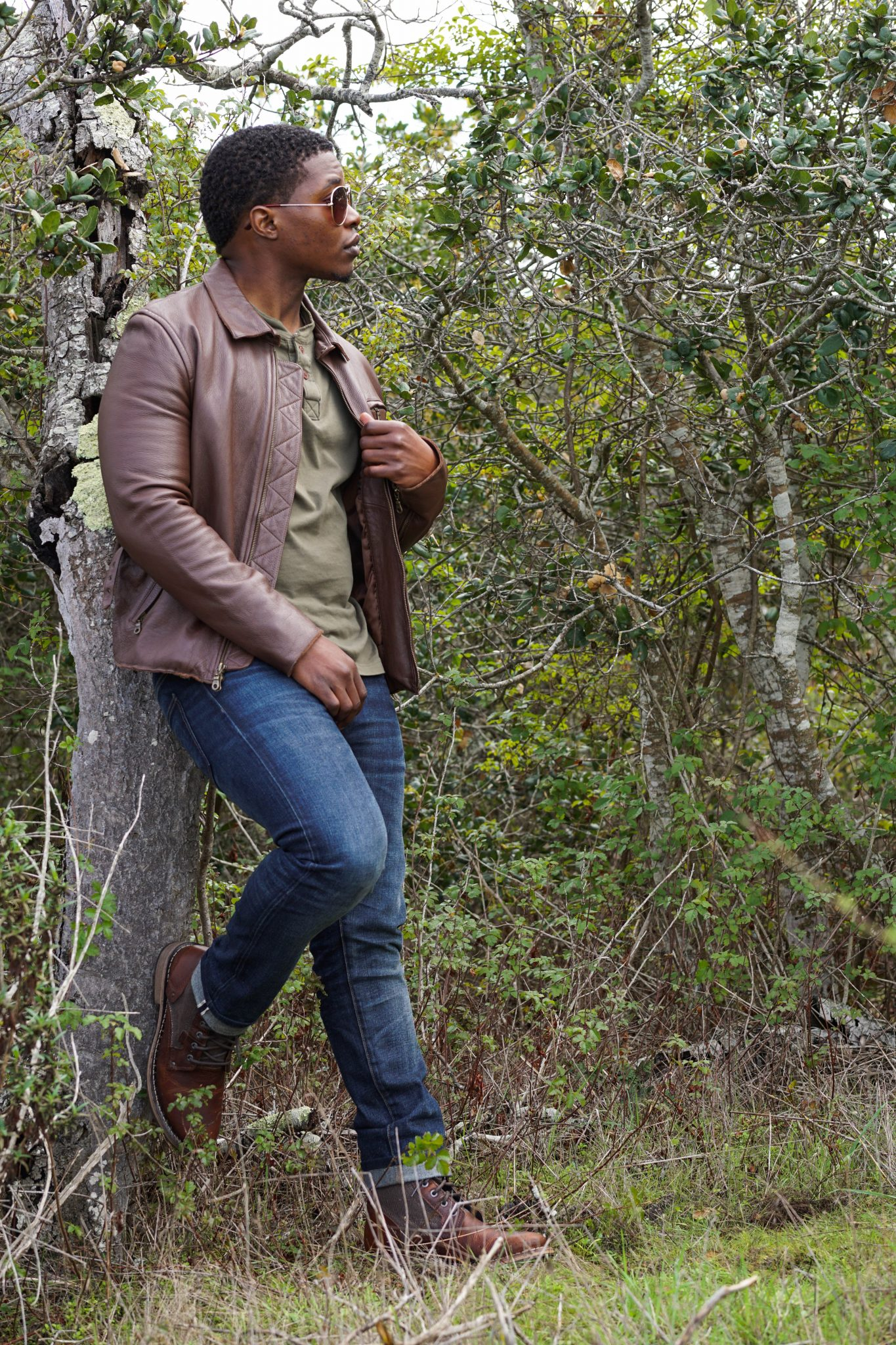 Dapper-Advisor-Cat-Footwear-Abe-Canvas-Boot-brown-leather-jacket-shades-henley-black-man-african-american