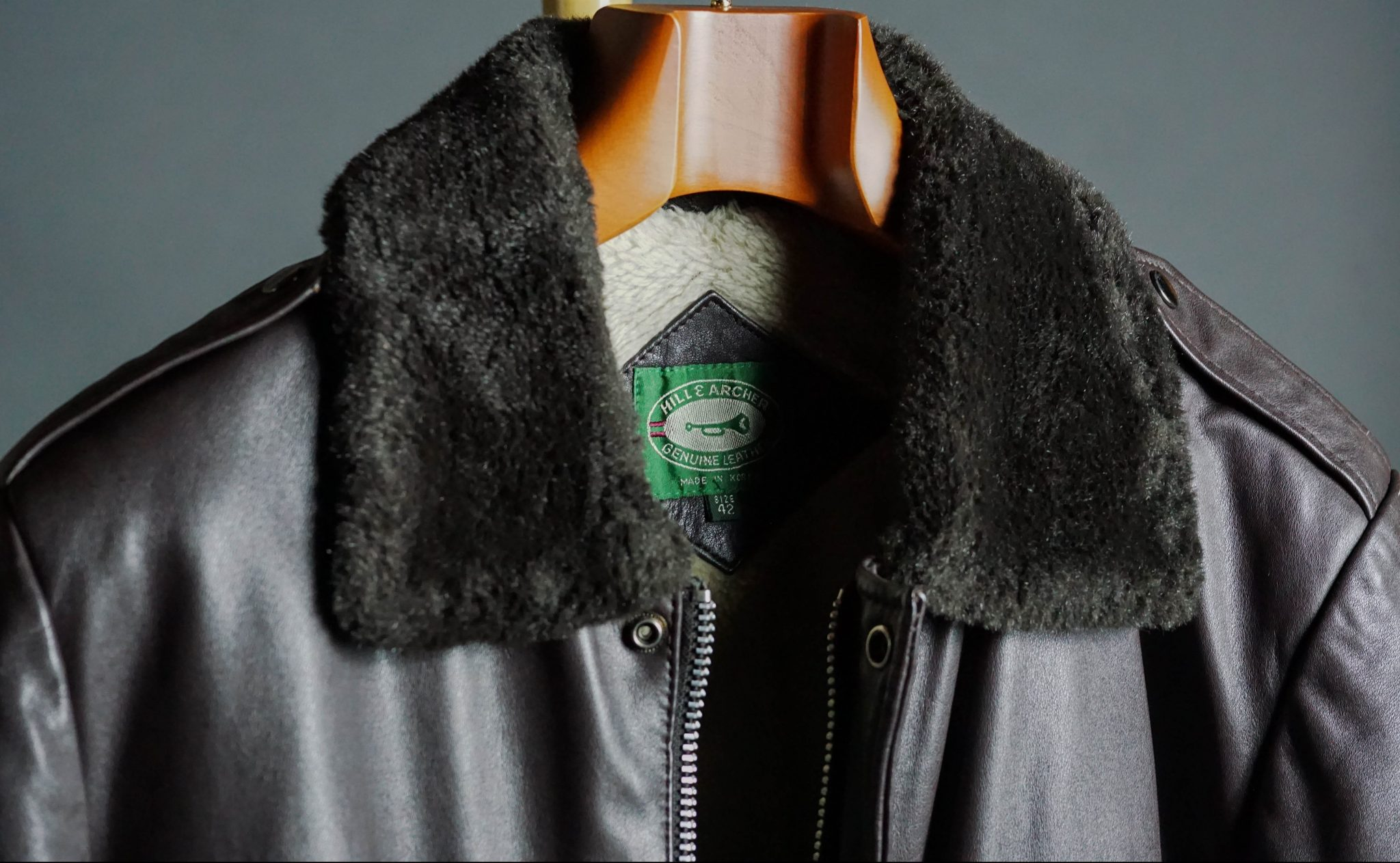 Butler-Luxury-Hangers-Review-vintage-brown-leather-jacket-shearling