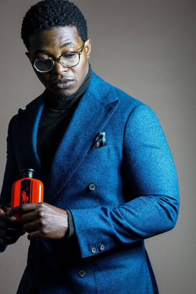 Dapper-advisor-black-man-african-american-holding-intense-red-cologne-fragrance-ralph-lauren-gift-idea-christmas-holiday-2