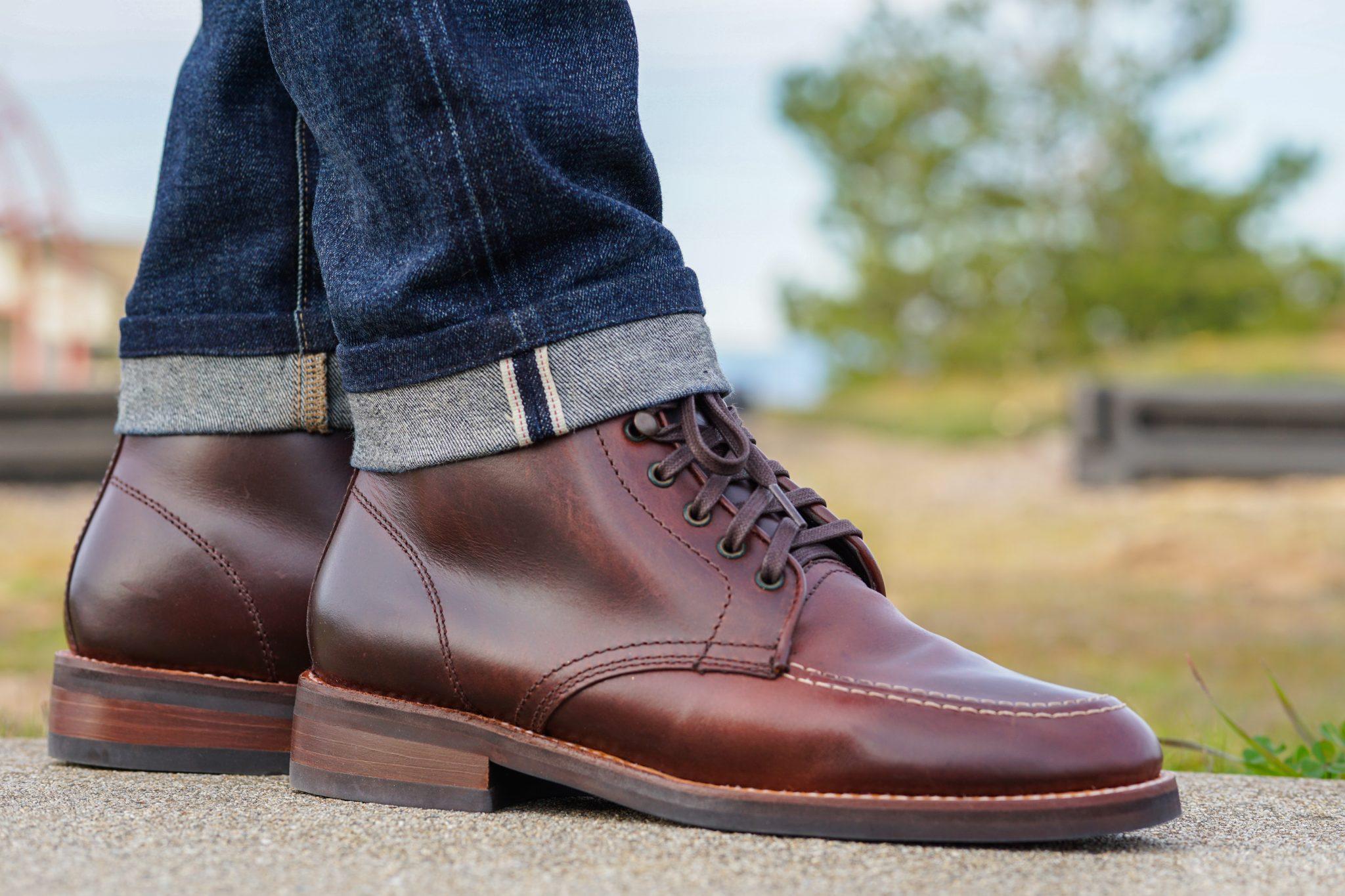 Dapper Advisor Akil McLeod Brown Diplomat Thursday Boots selvedge denim jeans