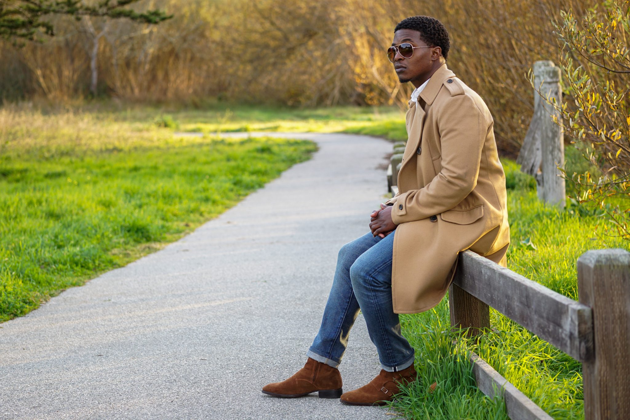 dapper advisor black man wearing camel coat banana republic vintage waistcoat zara triple monk boots 2