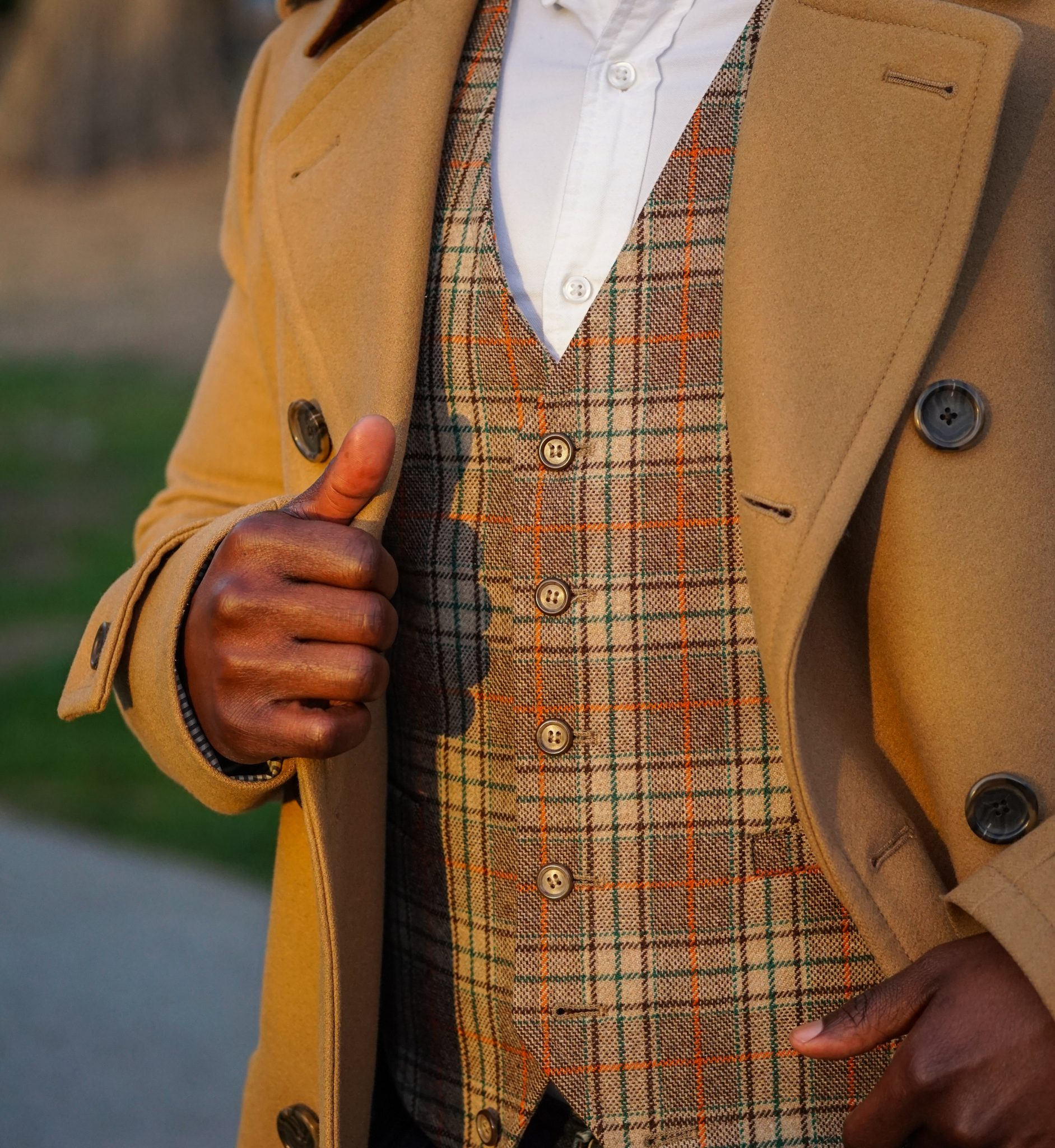 dapper advisor black man wearing camel coat banana republic vintage waistcoat zara triple monk boots 4