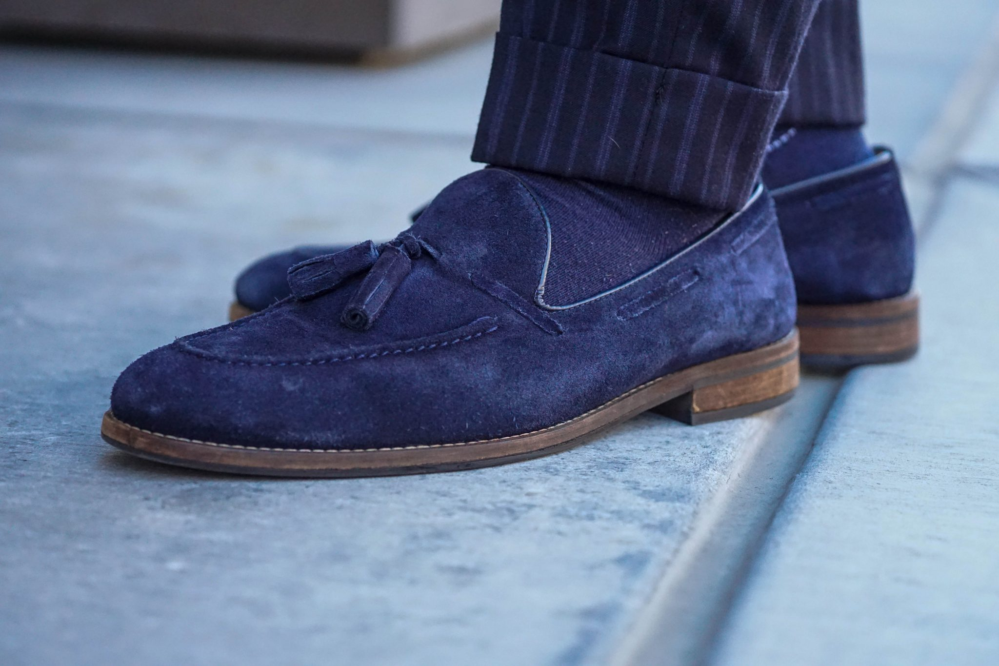 dapper-advisor-suede shoes-navy-suede-tassel-loafers-wool-stripe-trousers
