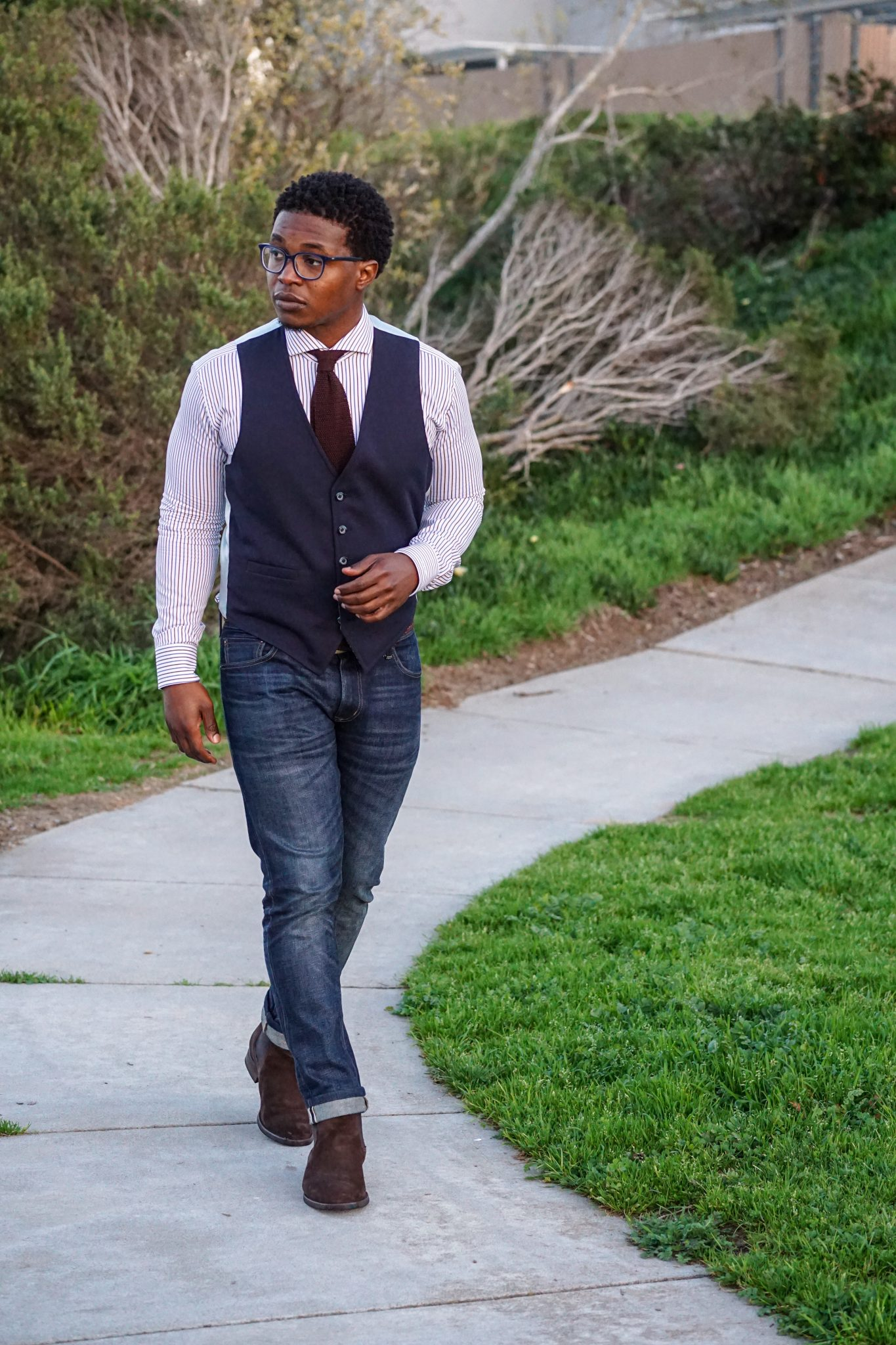 dapper-advisor-invest in yourself-black-man-wearing-navy-waistcoat-brown-silk-knit-tie-custom-itailor-stripe-shirt-men-3