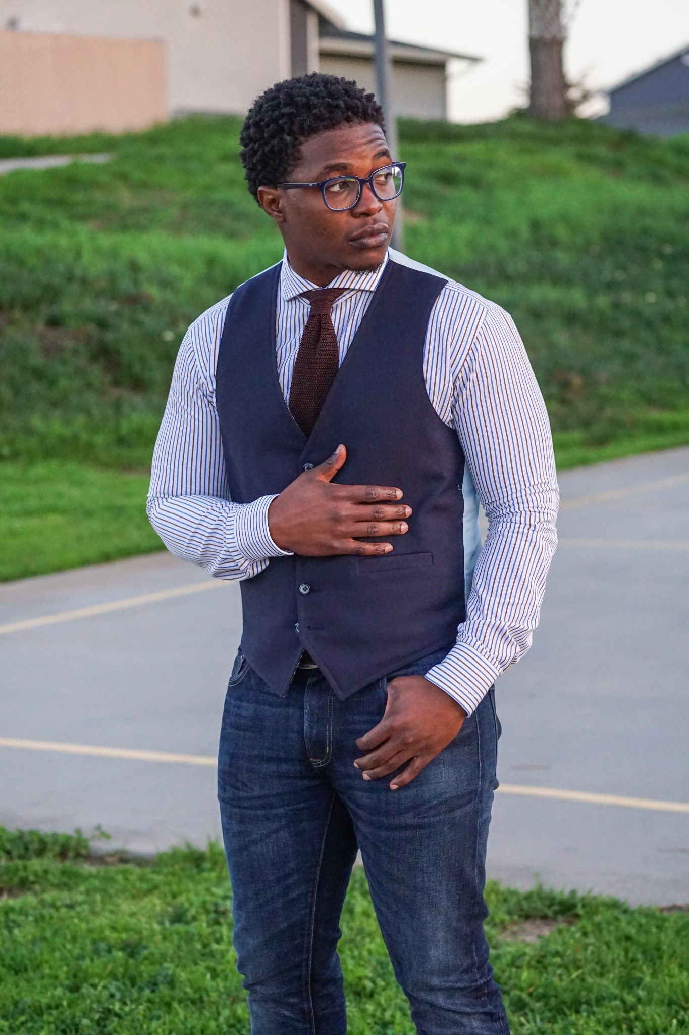 dapper-advisor-invest in yourself-black-man-wearing-navy-waistcoat-brown-silk-knit-tie-custom-itailor-stripe-shirt-men-5