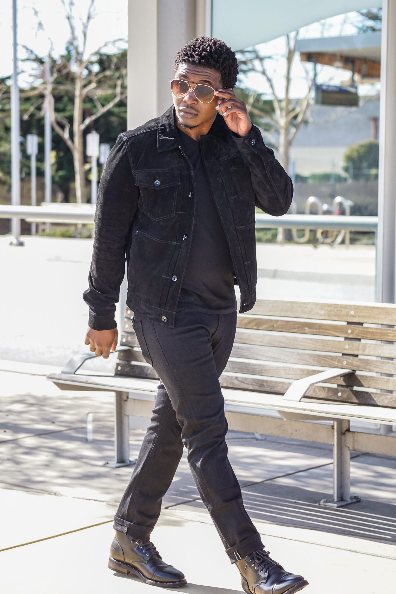 dapper-advisor-black-man-wearing-black-jack-threads-suede-leather-jacket-thursday-boots-black-captain-all black-outfit-1