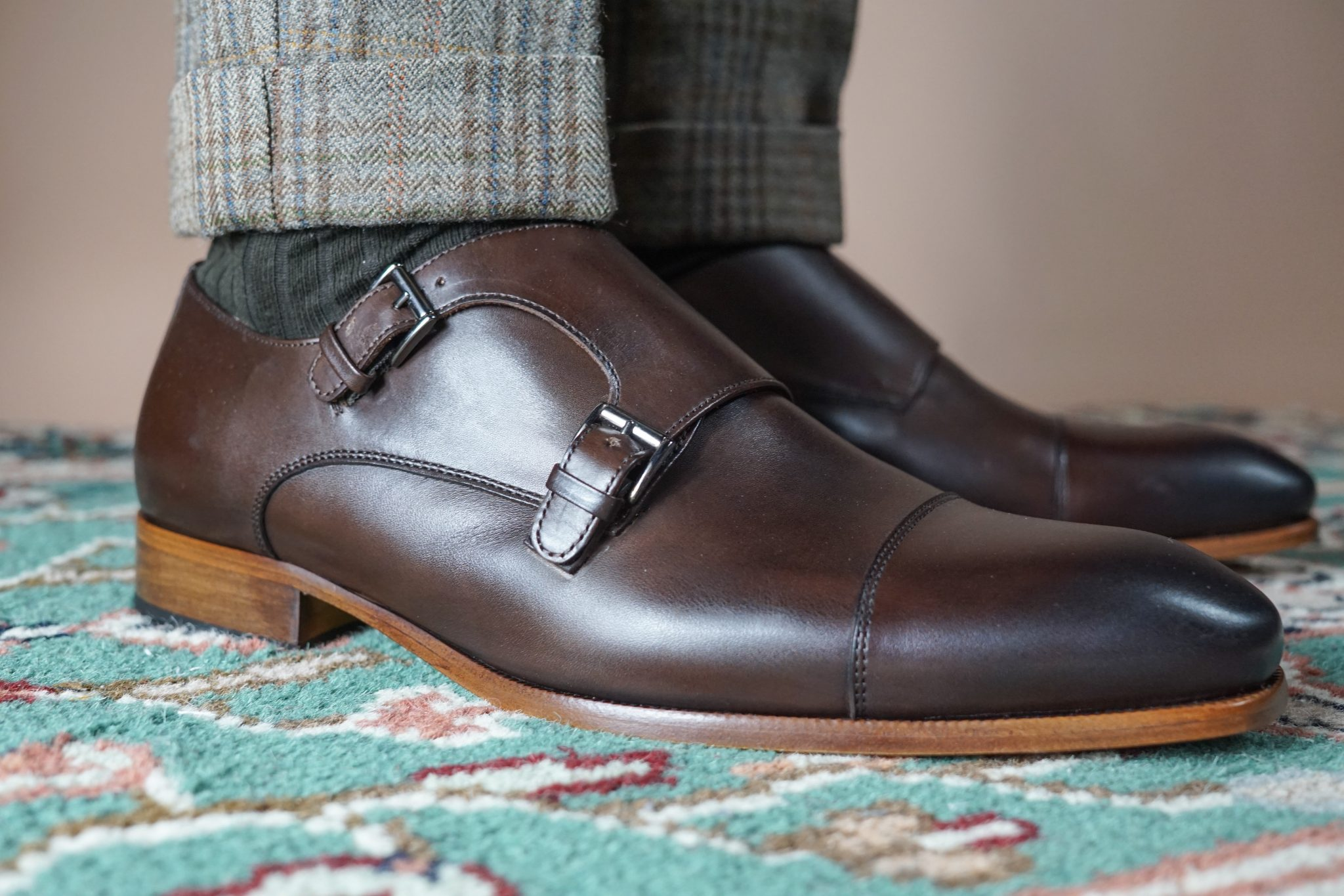 dapper-advisor-black-man-wearing-oliver-wicks-brown-double-monkstrap-shoes