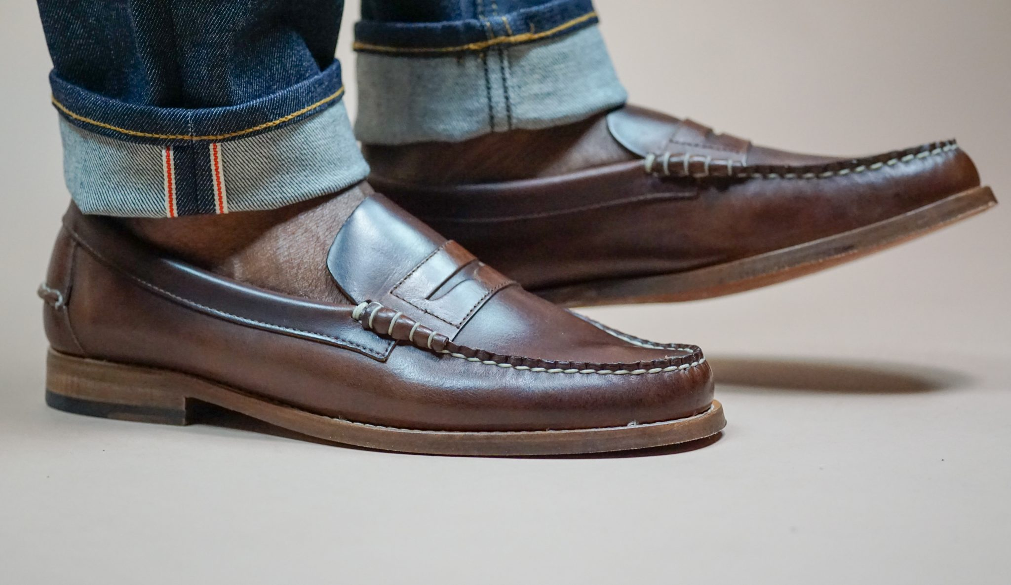 dapper-advisor-sebago-legacy-brown-penny-loafers-raw-selvedge-denim-cuffed-jeans-