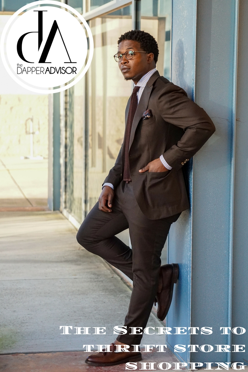 dapper-advisor-thrift store-shopping-black-man-wearing-brown-suit