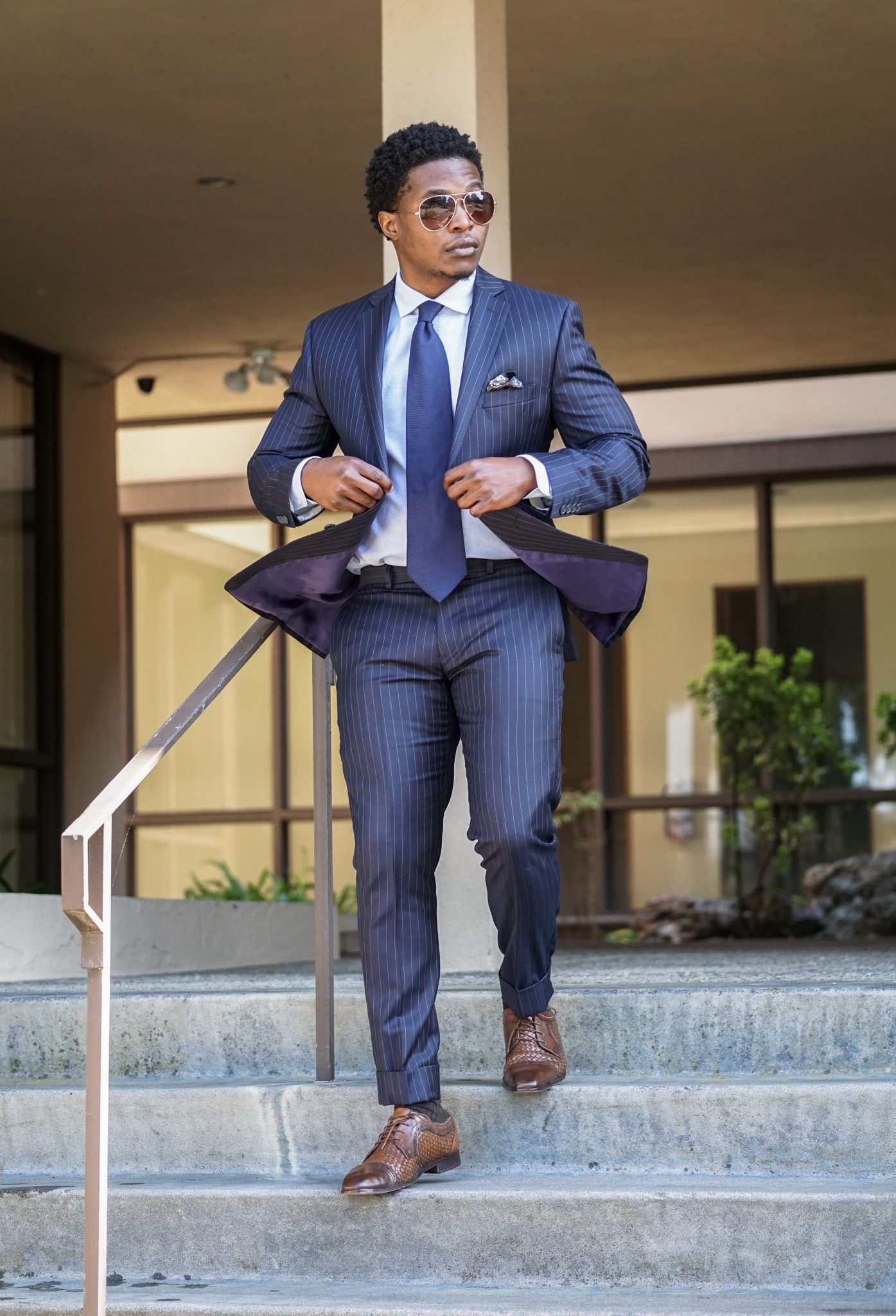dress like a boss-black-man-wearing-navy-pinstripe-suit-business-attire-2