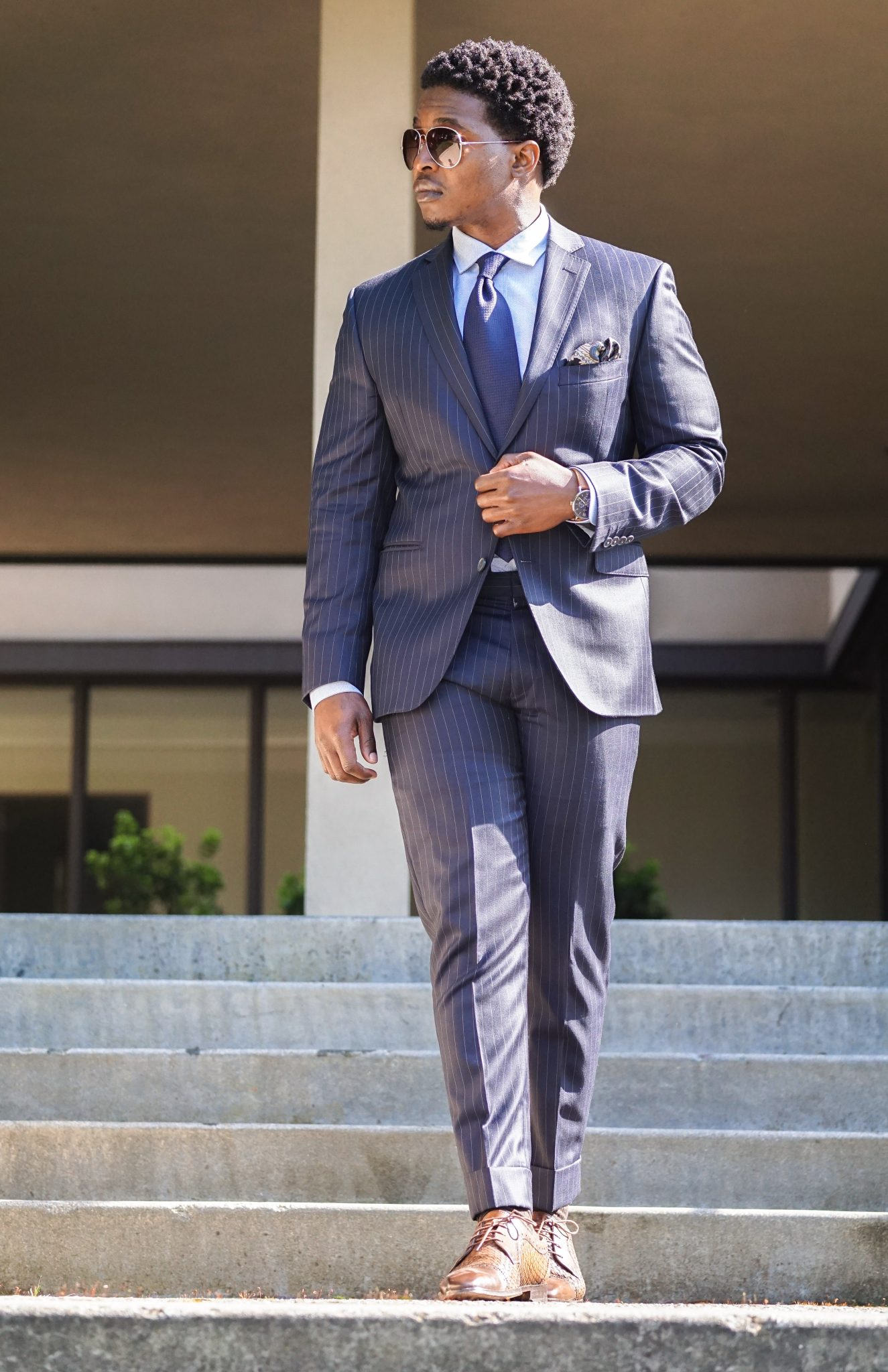 dress like a boss-black-man-wearing-navy-pinstripe-suit-business-attire-3