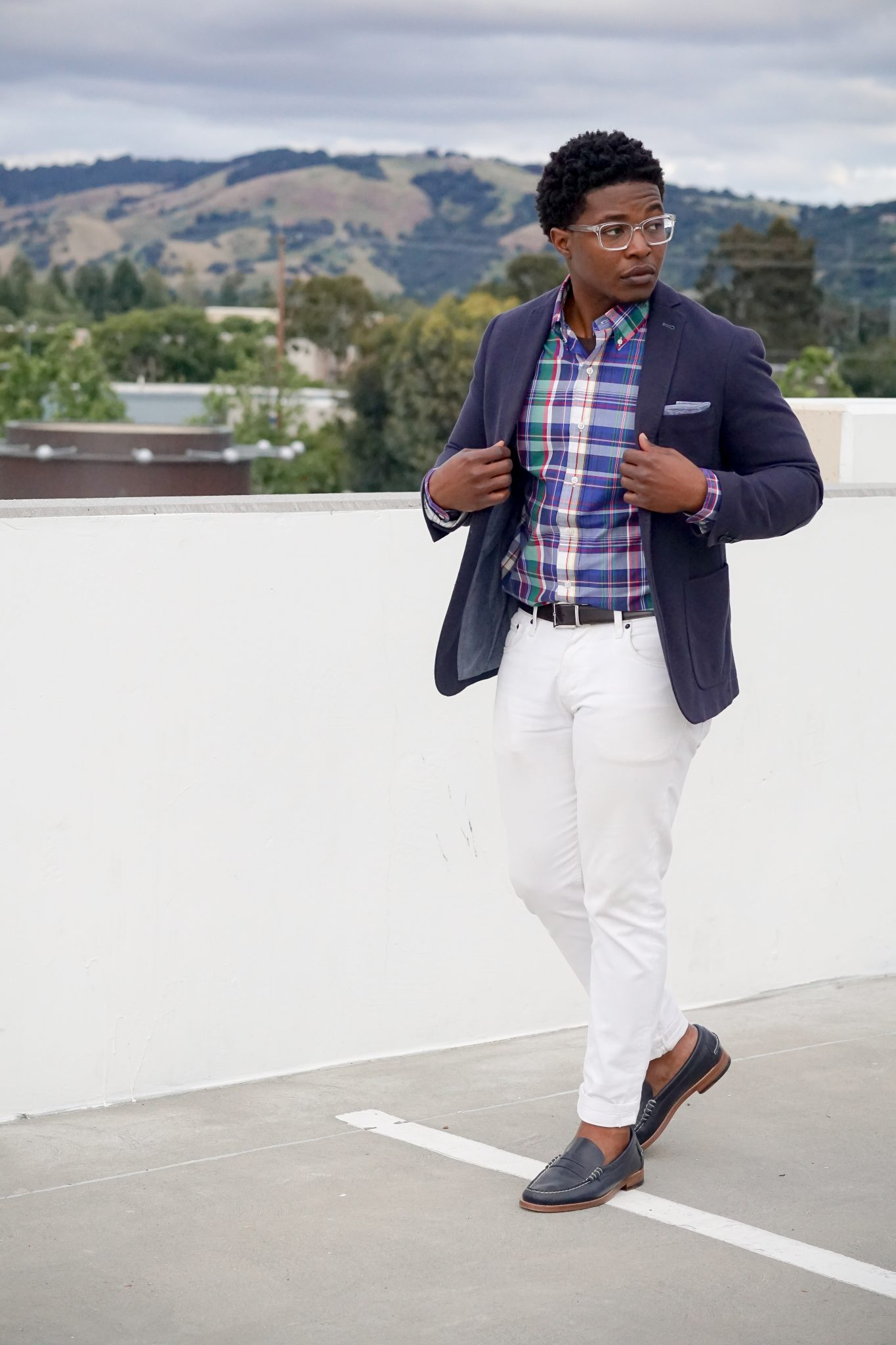 dapper advisor-wearing-ralph lauren-plaid shirt-white denim jeans-navy blue blazer-sebago legacy loafers-2