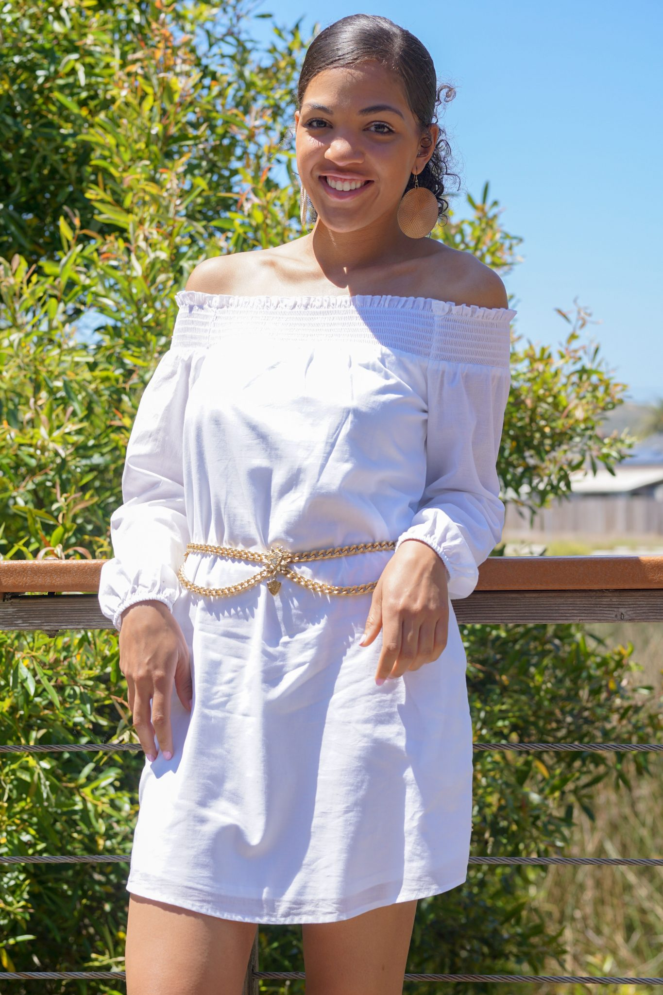 dapper advisor-dominque-white Smocked Off The Shoulder Linen-Cotton Tunic Dress-1