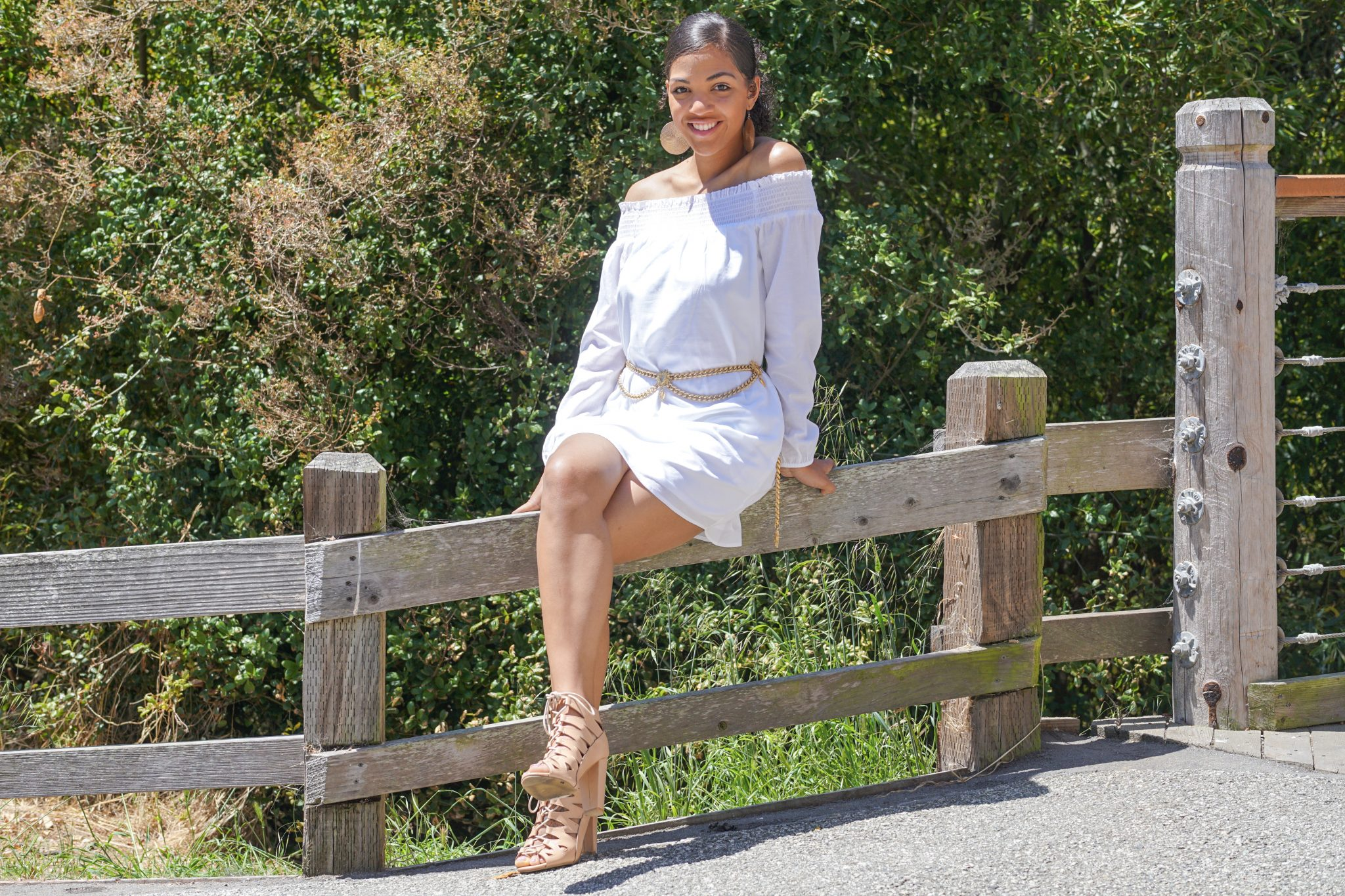 dapper advisor-dominque-wearing-white Smocked Off The Shoulder Linen-Cotton Tunic Dress-1