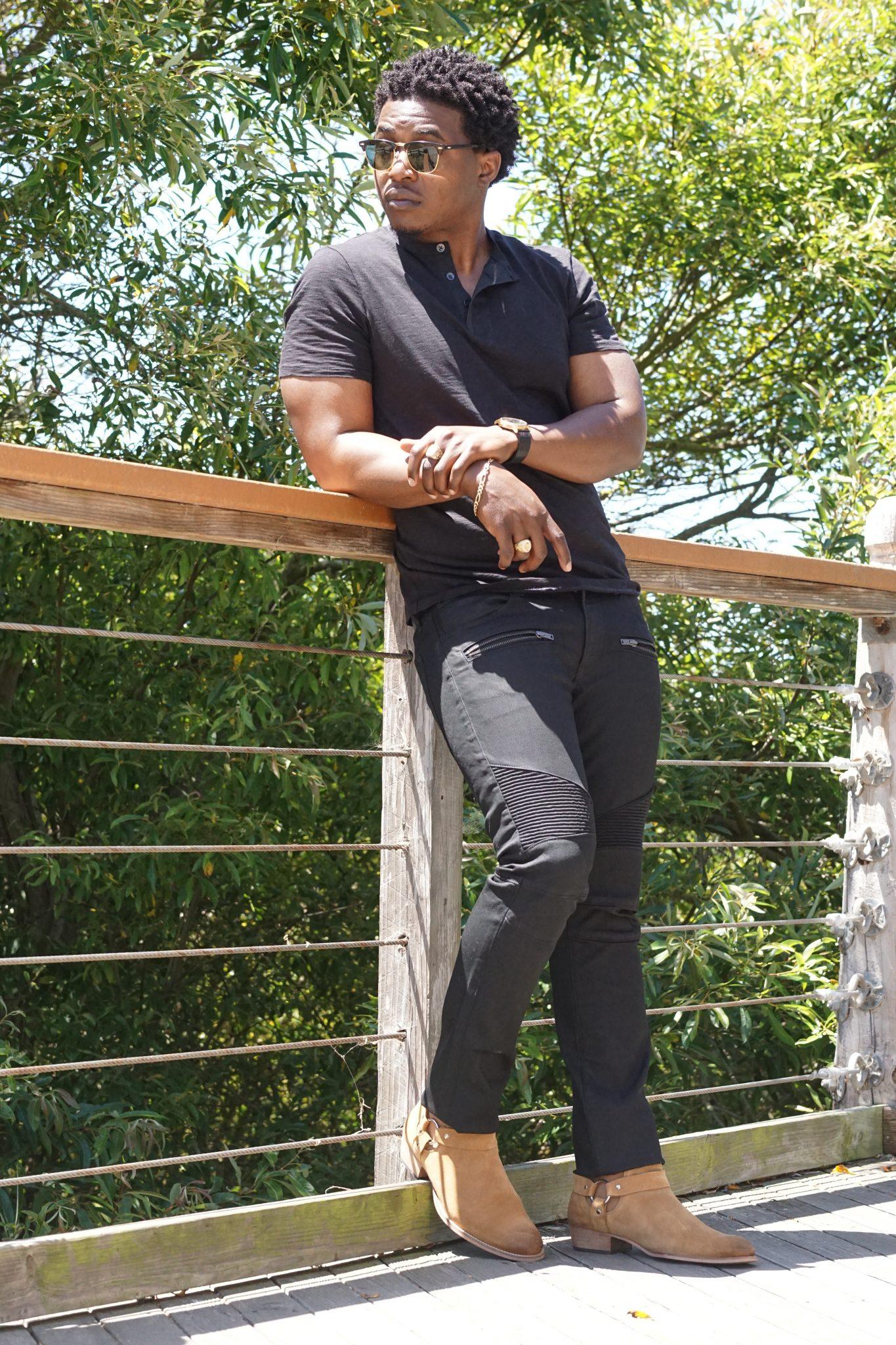 dapper advisor-express-black slim moto jeans-supersoft henley shirt-suede chelsea boots-2