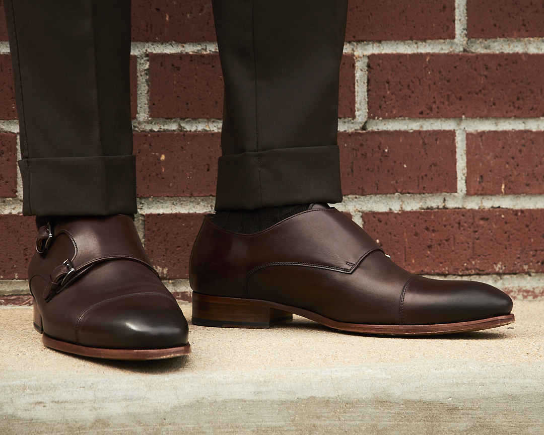 dapper advisor-oliver wicks-brown double monkstrap shoes