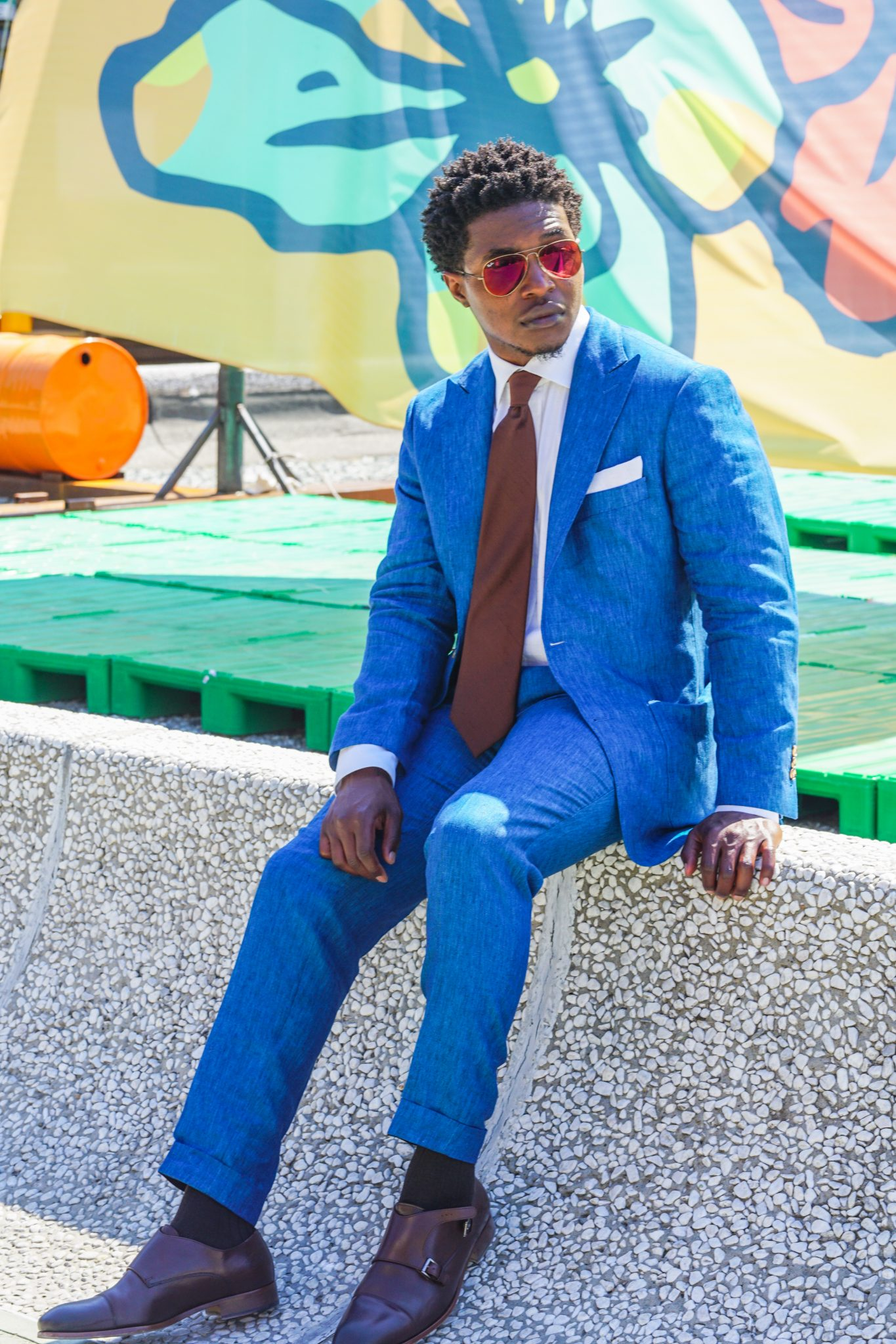 dapper advisor-pitti uomo 92-oliver wicks-teal linen suit-brown double monks-2