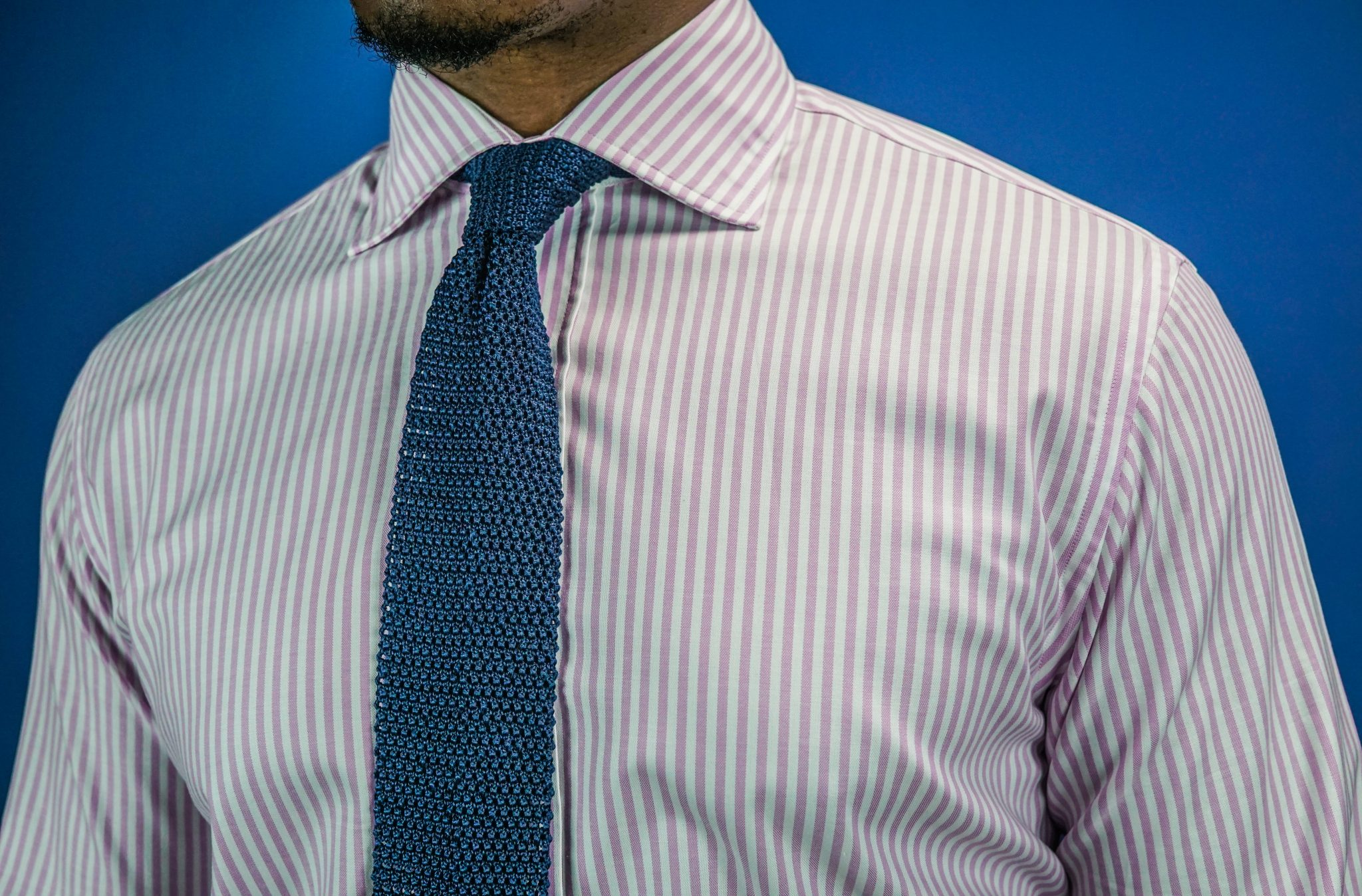 deo veritas-custom dress shirt-pink-white-stripe-shirt-silk knit tie-review-3