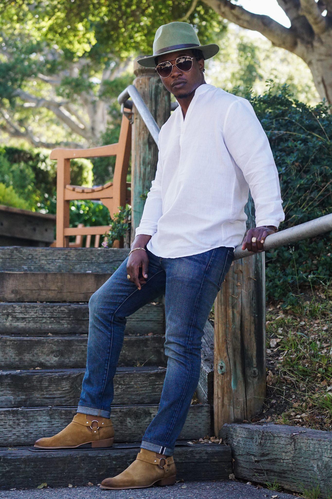 7af6ce86651a9 Black man wearing-linen-shirt-southern gents-fedora-hats-brown