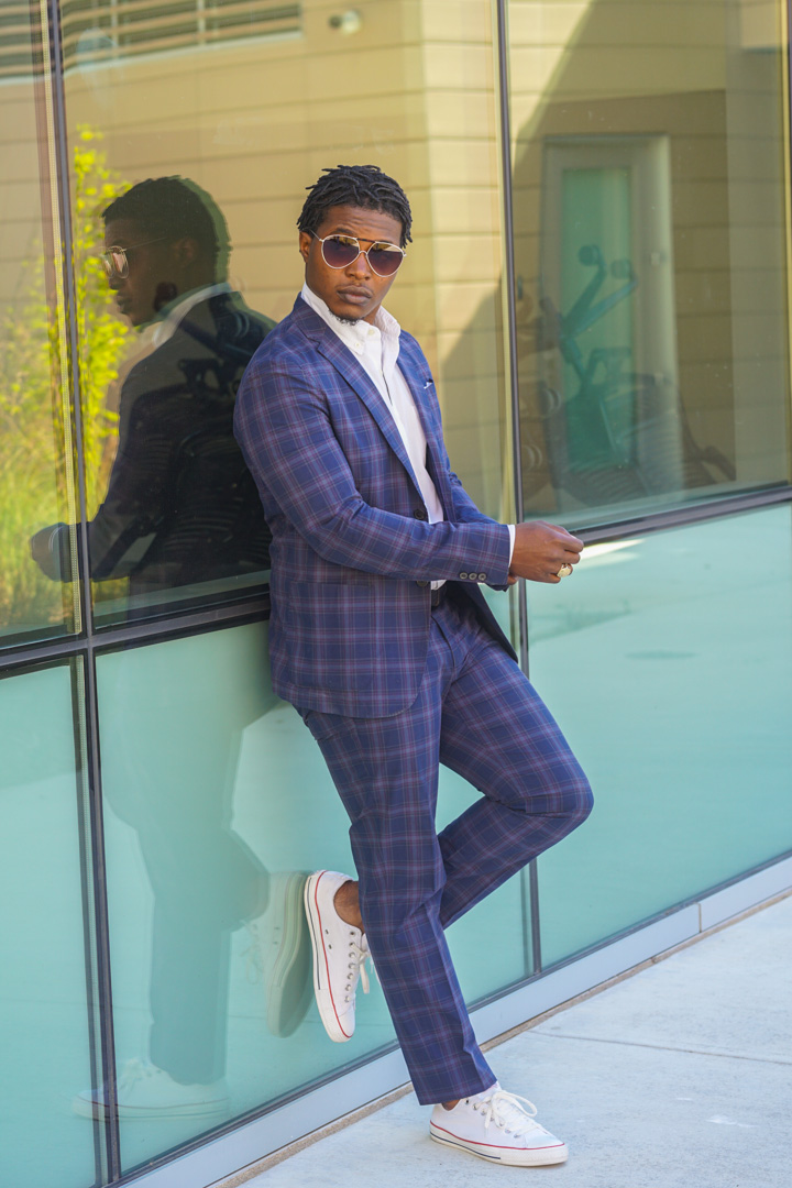dapper advisor-plaid cotton suit-summer suit-aviator sunglasses-white converse sneakers