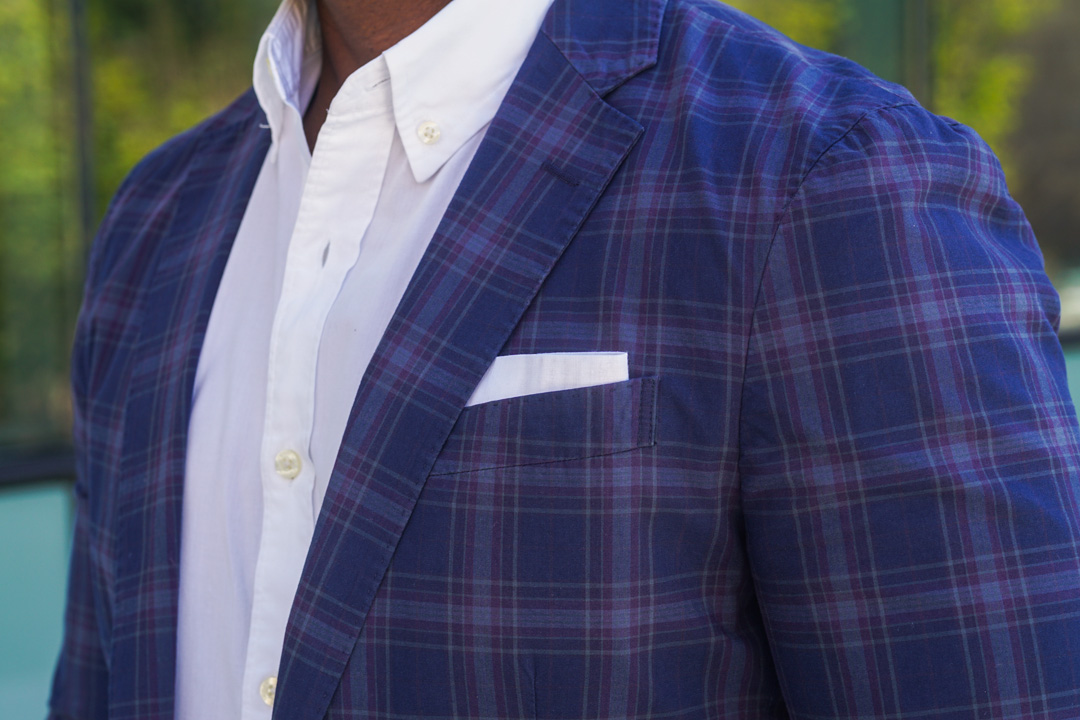 plaid cotton suit-white oxford shirt-white pocket square