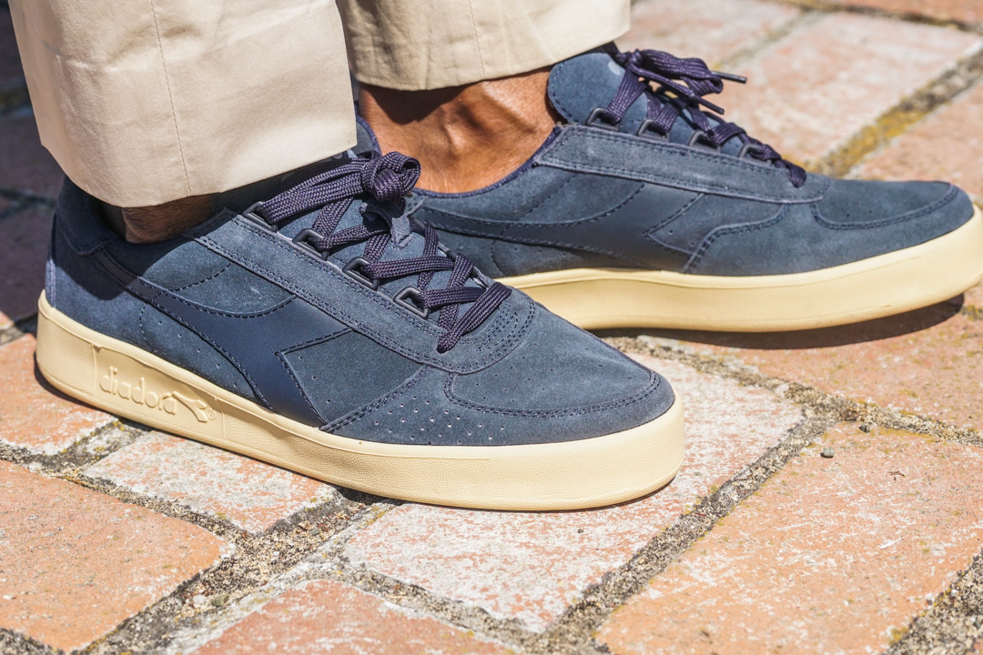 khaki suit-navy blue-diadora sneakers