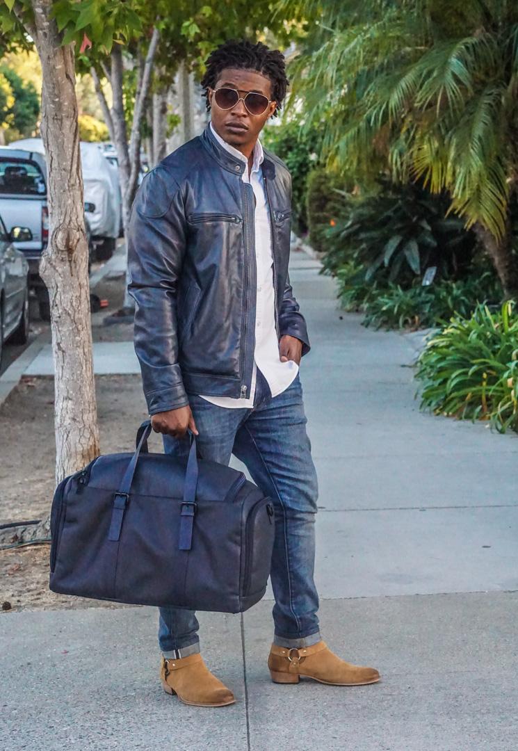 dapper advisor-wilsons leather navy blue leather moto jacket-white oxford shirt-WILSONS LEATHER Navy Blue VACQUETA LEATHER DUFFEL Bag-3