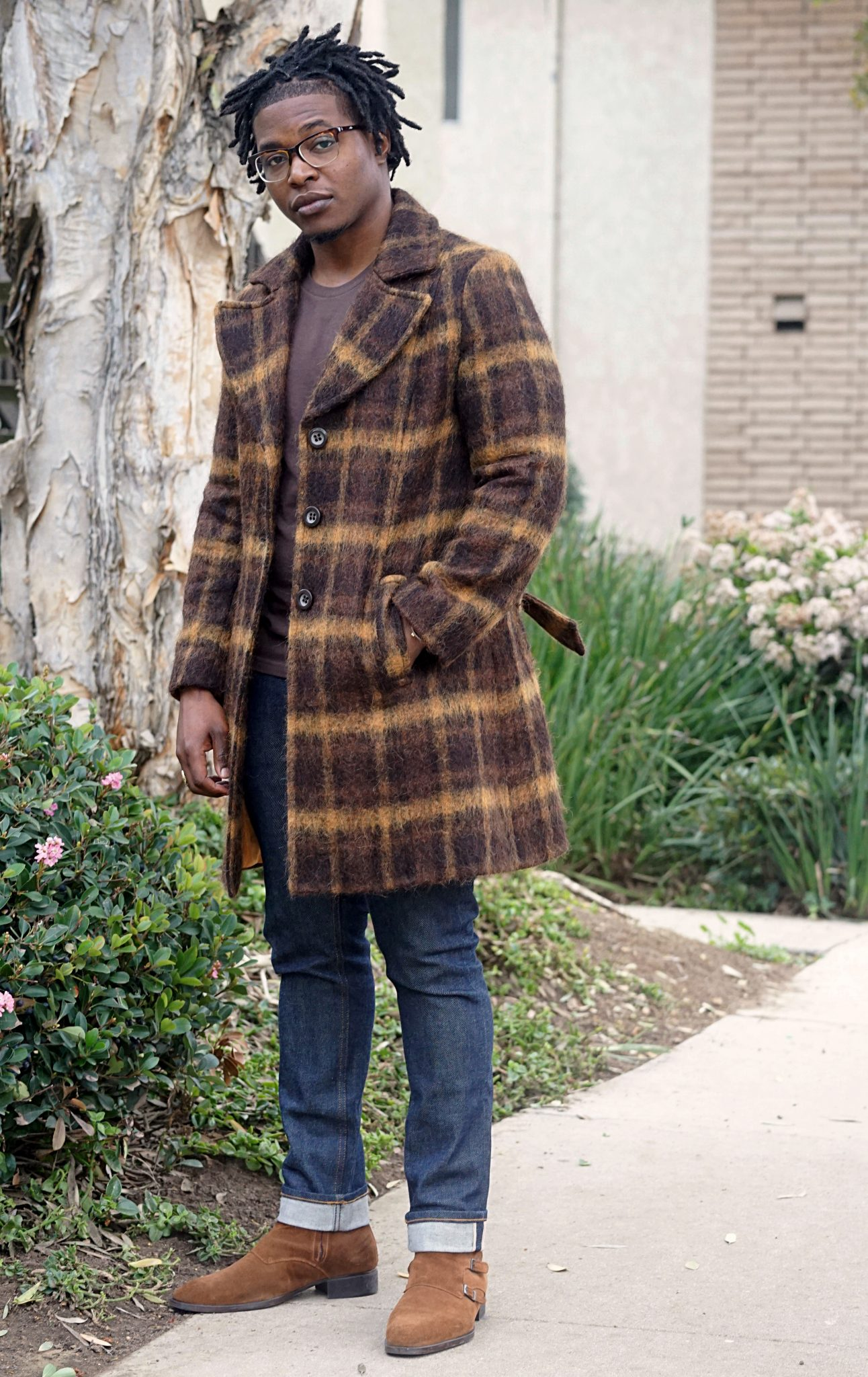 wearing-brown-shirt-statement coat-giovane san martino-plaid-overcoat-alpaca -jack threads-selvedge denim jeans-zara suede boots