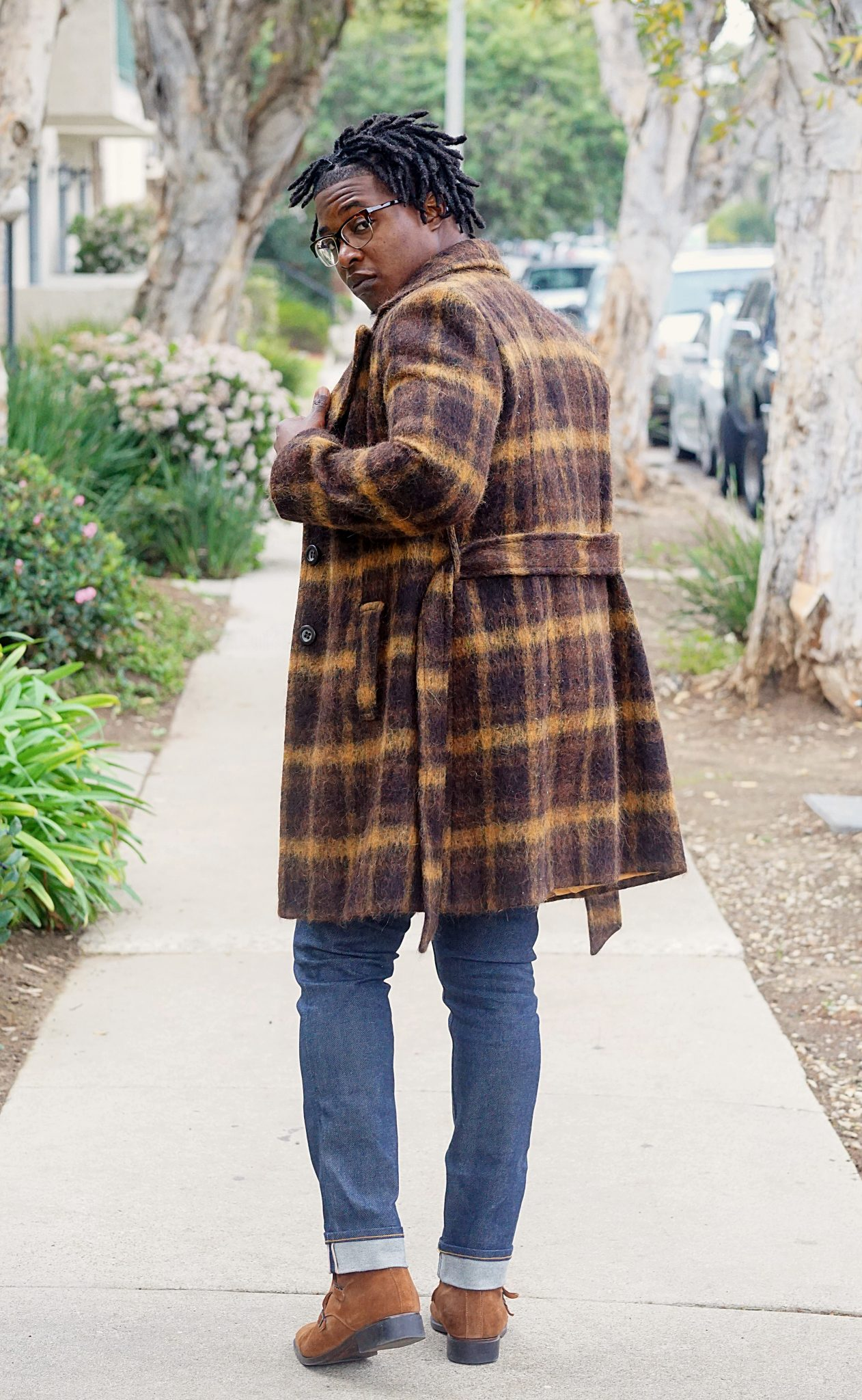 dapper-advisor-wearing-brown-shirt-statement coat-giovane san martino-plaid-overcoat-alpaca -jack threads-selvedge denim jeans-zara suede boots-2