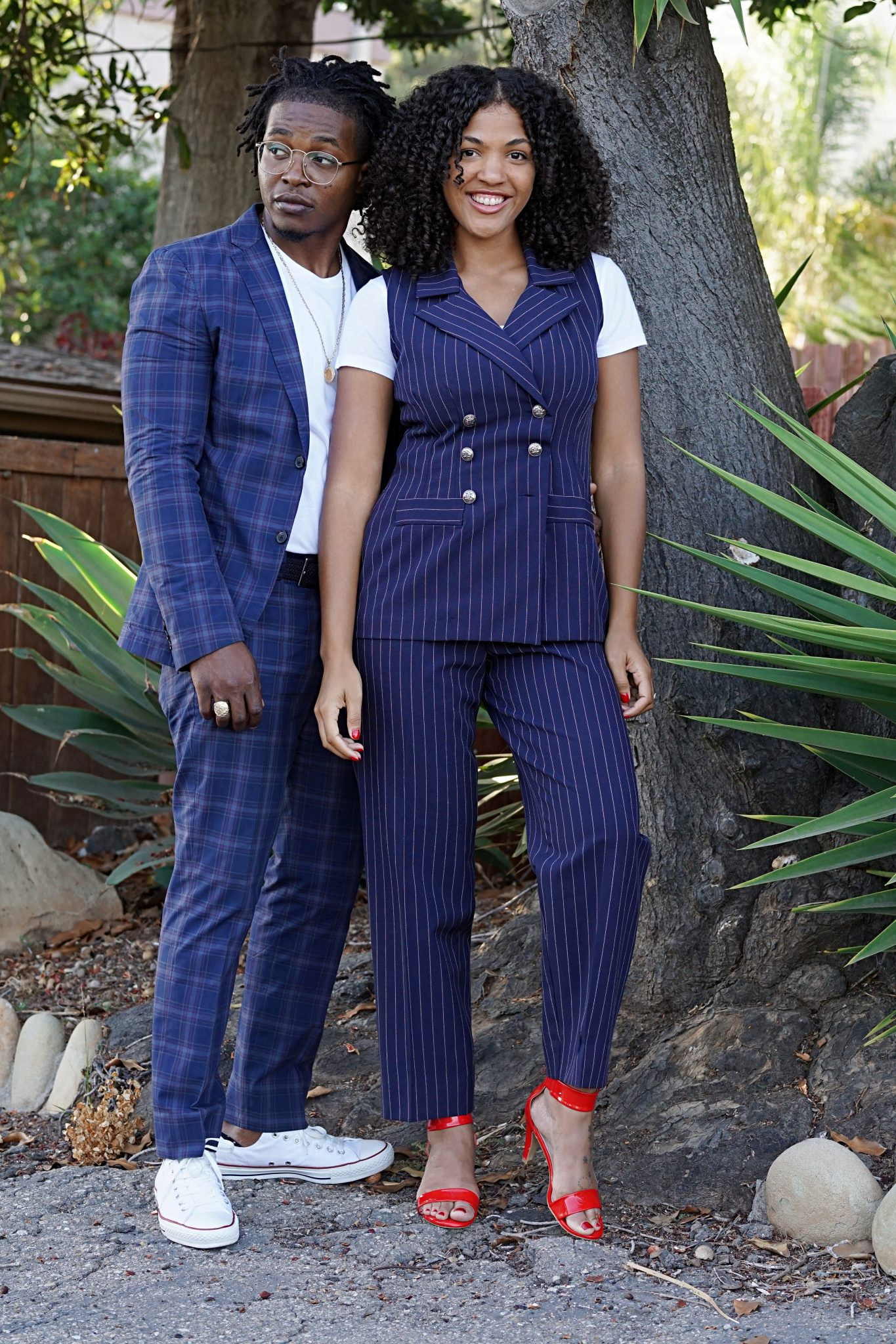 casually-tailored-date night-plaid-cotton-black-couple-wearing-suits-summer-suiting-summer-outfit-ideas