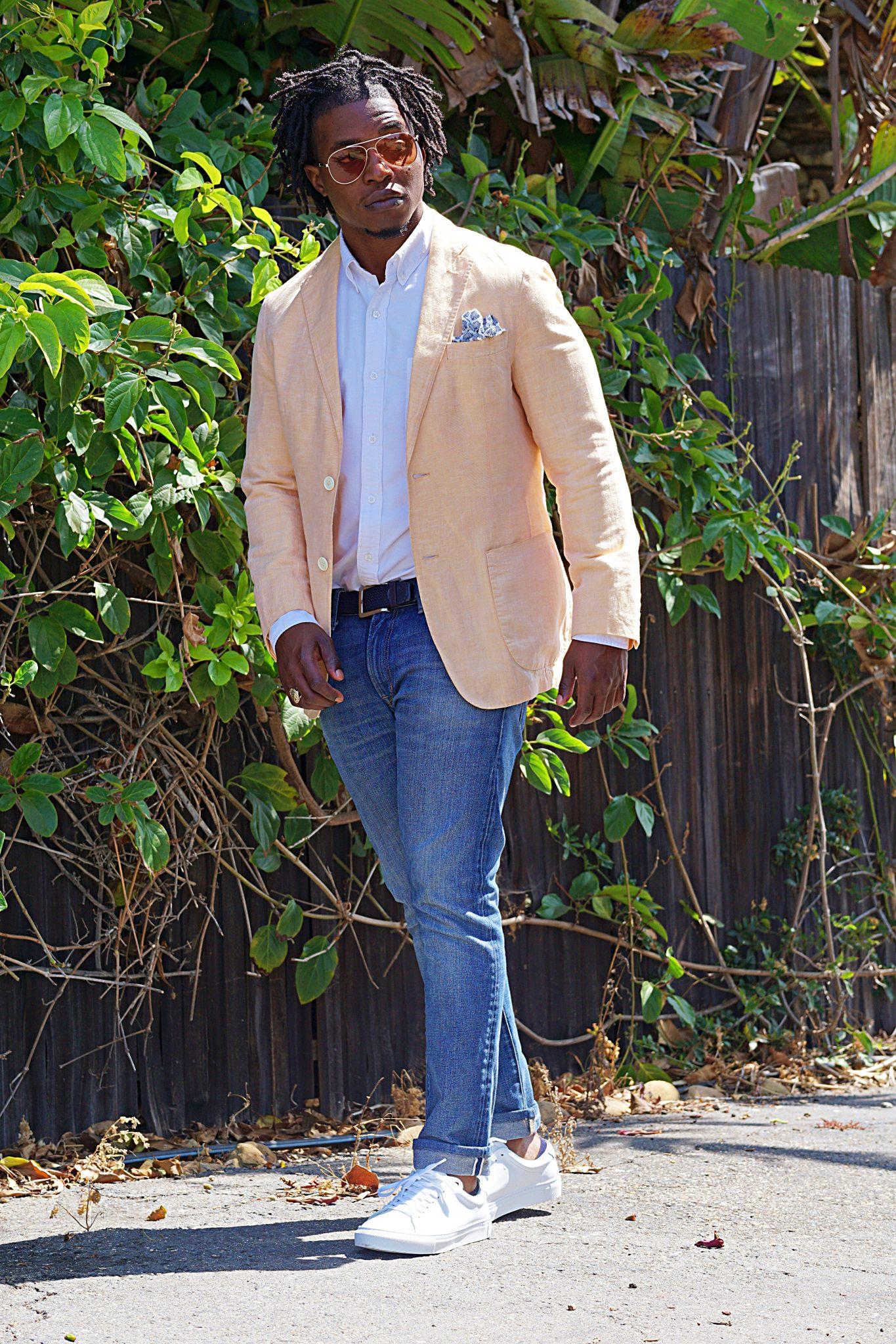 linen-orange-blazer-white-oxford-shirt-casual-summer-outfit-ideas-beckett simonon-reid-white-leather-sneakers